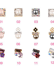 Pinpai New 12-art Manual Pressure Diamond Drill Metal Drill Nails Shiny Nail Stickers Drill Decoration Rhinestone Pearls Cosmetic Nail Art Design
