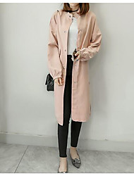 Women's Daily Casual Coats Spring Trench Coat,Solid Stand Long Sleeve Long Others