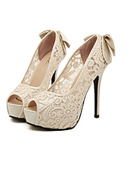 Women's Spring Summer Fall Winter Wedding Party & Evening Bowknot Stiletto Heel Platform Ivory Pink Blue 5in & over