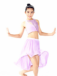 MiDee Performance Outfits Women's / Children's Performance Spandex / SequinedDraped / Sequins / Side-Draped / Split