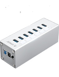 Orico a3h4-bk alumínio usb3.0 10ports 5gbps 1mcable com mac hub de interface