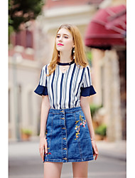 KANF Women's Going out Casual/Daily Holiday Above Knee SkirtsSimple Cute Street chic A Line Denim Embroidered Solid Spring Summer