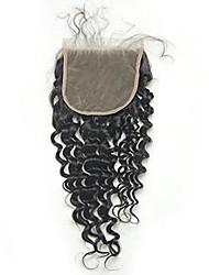 Глубокая волна 5x5inch кружева закрытия человеческих волос верхней кружева закрытия с ребенком волос