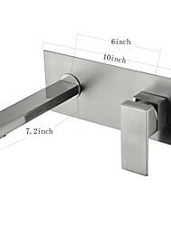 На стену Керамический клапан Одно отверстие for  Матовый никель , Ванная раковина кран