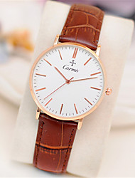 Couple's Fashion Watch Quartz Leather Band Brown