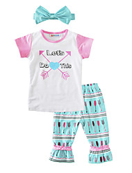 Girls' Floral Sets Cotton Summer Short Sleeve Clothing Set Arrow T-shirt Pants with Headband 3pcs Outfit for Kids Girls
