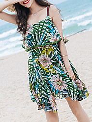 Women's Beach Going out Casual/Daily Boho A Line Dress,Floral Print Strap Knee-length Asymmetrical Sleeveless Polyester ChiffonSummer