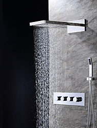 Contemporary Wall Mounted Waterfall Rain Shower Handshower Included with  Ceramic Valve Four Handles Three Holes for  Chrome , Shower