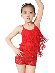 MiDee Latin Dance Outfits Children's Training Spandex Sequined Tassel(s) Sequins Sleeveless Natural