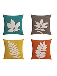 4 pcs Linen Pillow case Bed Pillow Body Pillow Travel Pillow Sofa Cushion,Botanical Pattern Fashion