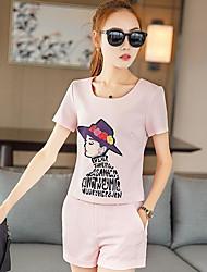 Mujer Casual Diario Casual Verano T-Shirt Pantalón Trajes,Escote Redondo A Cuadros Letra Caricatura Manga Corta Microelástico