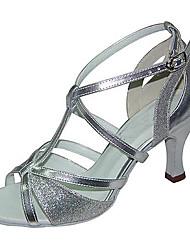 Damen Latin Kunstleder Sandalen Sneakers Professionell Verschlussschnalle Niedriger Heel Silber 5 - 6,8 cm Maßfertigung