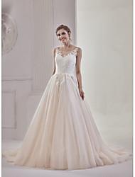 Linha A Princesa Ilusão Decote Cauda Corte Renda Tule Vestido de casamento com Apliques Botões de MDHS