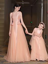 A-ligne jewel neck train tribunal satin taffeta tulle robe de soirée formelle avec beading fleur (s) bandoulière en dentelle bandage