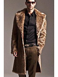 Men's Casual/Daily Simple Winter Fur Coat,Solid Shirt Collar Long Sleeve Long Others