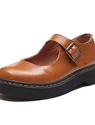 Mujer Zapatillas de deporte Confort PU Verano Casual Negro Marrón 5 - 7 cms