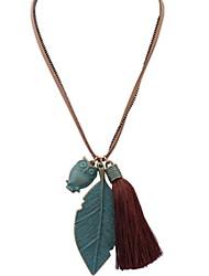 Для пары Ожерелья с подвесками Ожерелья-цепочки Бижутерия В форме листа Сова Резина Ткань СплавБазовый дизайн Уникальный дизайн В виде