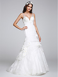 Sheath / Column V-neck Court Train Lace Wedding Dress with Lace Button Flower by LAN TING BRIDE®