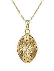 Жен. Ожерелья с подвесками Ожерелья-цепочки Бижутерия Овальной формы Геометрической формы Серебрянное покрытие Позолота СплавБазовый
