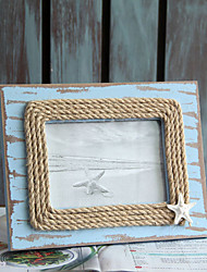 2 PC Picture Frames Casual Retro Novelty Wooden Organic Glass Resin Mediterranean Cotton Rope