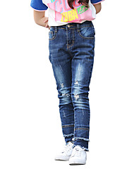 Girls' Solid Jeans-Cotton Polyester All Seasons
