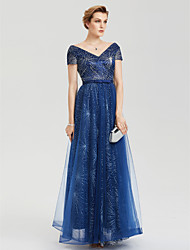 A-Linie V-Ausschnitt Boden-Länge Spitze Tüll Party Formal Kleid mit Schleife Schärpe / Band Schnürsenkel durch TS Couture®