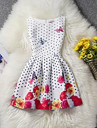 Robe Fille de Points Polka Fleur Coton Polyester Eté Sans Manches