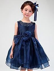 A-line Short/Mini Flower Girl Dress - Organza Jewel with Rhinestone Bowknot
