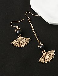 Women's Simple Retro Fan Shaped Beads Asymmetrical Earrings Sweet Long Tassel Earring New Jewelry