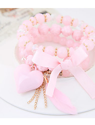Women's Charm Bracelet Fashion Bohemian Costume Jewelry Resin Alloy Heart Bowknot Jewelry For Party