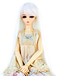 Synthetic Doll Accessories Long Straight White Color Hair for 1/3 1/4 Bjd SD DZ MSD Doll Costume Wig Not for Human Adult