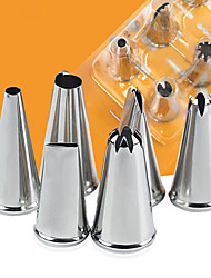 Delidge 6PCS Stainless Steel Cream Nozzle Mouth Jam Cream Tip Set Cake Decorating Mouth Pastry Piping Flower Mouth Baking Tool