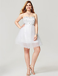 2017 Plus Size Cocktail Party Dress - Open Back Short Lace-up A-line Sweetheart Short/Mini Satin Tulle with Crystal Detailing Pleats Bandage