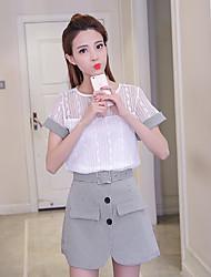 Feminino Japonesa/Curta Calça Conjuntos Diário soak Off Verão,Sólido Decote Redondo