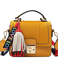 Women Shoulder Bag PU All Seasons Casual Flap Clasp Lock Dark Green Yellow Blushing Pink Black