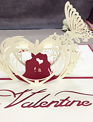 5pcs 3D Pop Up Card Invitation Kirigami Greeting Cards Valentine Love Wedding Gifts Supplies