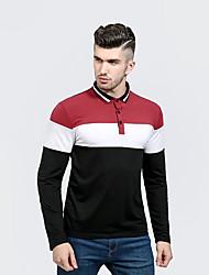 Для мужчин На каждый день Polo Рубашечный воротник,Уличный стиль Контрастных цветов Длинный рукав,Полиэстер