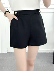 Women's Medium Waist strenchy Shorts Pants,Chinoiserie Wide Leg Pure Color Solid