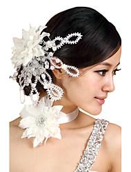 Imitation de perle Strass Tissu Casque-Mariage Fête/Soirée Fleurs 2 Pièces