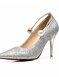 Damen High Heels formale Schuhe Glanz Frühling Herbst Hochzeit Kleid Party & Festivität formale Schuhe Perle Stöckelabsatz Gold Silber Rot