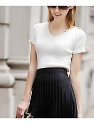 Damen Solide Einfach Alltag T-shirt,V-Ausschnitt Frühling Kurzarm Andere
