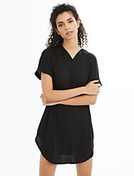 Tee Shirt Robe Femme Décontracté / Quotidien simple,Couleur Pleine Col Arrondi Mini Manches Courtes Coton Toutes les SaisonsTaille