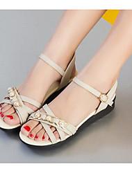 Women's Sandals Comfort PU Summer Casual Comfort Light Blue Blue Beige Black 1in-1 3/4in
