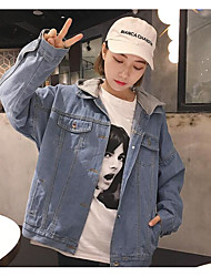 Giacca di jeans Da donna Quotidiano Cowboy Primavera/Autunno,Frasi e citazioni Colletto Jeans Corto Manica lunga