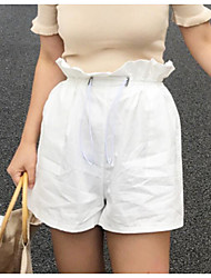 Women's High Waist Inelastic Shorts Pants,Cute Wide Leg Solid