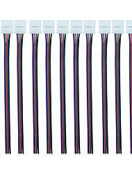 Rgb conector de 4 pinos de 10 mm com braçadeira sem solda (10pcs) sem solda sem solda em adaptador de pigtail para tiras flexíveis