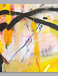 IARTS® Hand Painted Abstract Oil Painting  Bright Yellow & Black Lines Picture with Stretched Frame Handmade Oil Painting For Home Decoration