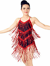 MiDee Latin Dance Dresses Women's Training Spandex Sequined Tassel(s) Sequins Sleeveless Natural