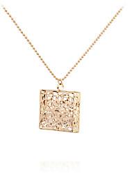 Women's Pendant Necklaces Rhinestone Locket Square MetallicUnique Design Pendant Tag Geometric Movie Jewelry Fashion Personalized