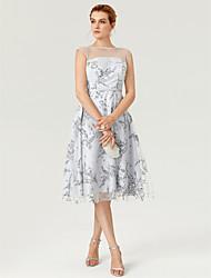 Vestido de festa de cocktail com tafetá com tiras / faixa de impressão